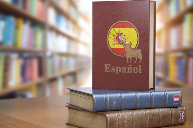 dois livros empilhados em cima da mesa na biblioteca, com destaque para o livro de espanhol neutro em pé
